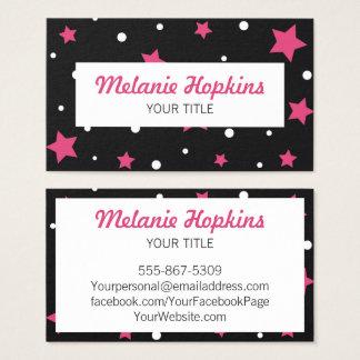 Rosa-Sterne mit weißer Punkt-Rolle-Visitenkarte Visitenkarte