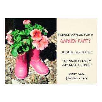 Rosa Stiefel-Garten-Party Einladung