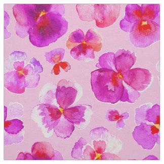 Rosa Stiefmütterchen Watercolor-Blumen-Kunstgewebe Stoff