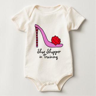 Rosa Stilett-Absatz-Schuh Baby Strampler