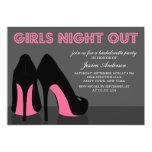 Rosa Stilett-Schuh-Mädchen-Nacht heraus lädt ein 12,7 X 17,8 Cm Einladungskarte