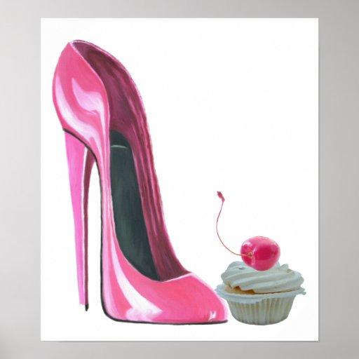 Rosa Stilett-Schuh und Kirschkuchen-Plakat