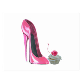 Rosa Stilett-Schuh und kleiner Kuchen Postkarte