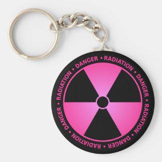 Rosa Strahlungs-Warnung Schlüsselanhänger