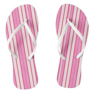 Rosa Streifen-Beschaffenheits-Muster Flip Flops
