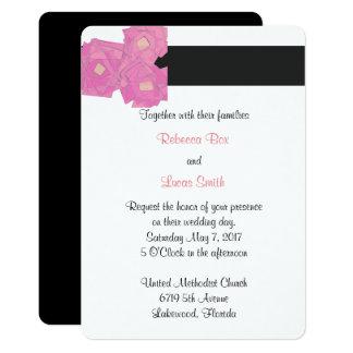 Rosa Streifen/Blumenhochzeits-Feier laden ein Karte