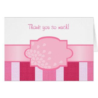 Rosa Streifen danken Ihnen Mitteilungskarte