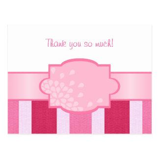 Rosa Streifen danken Ihnen Postkarte