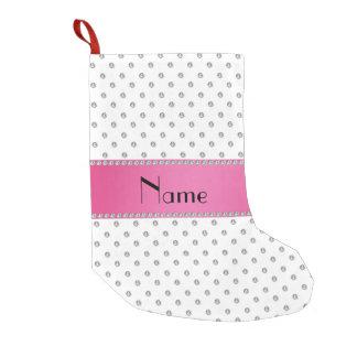 Rosa Streifen der personalisierten weißen Kleiner Weihnachtsstrumpf