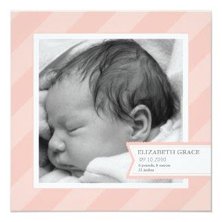 Rosa Streifen-Foto-Geburts-Mitteilung Quadratische 13,3 Cm Einladungskarte