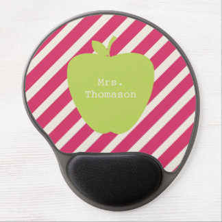 Rosa Streifen + Grünes Apple-Lehrer-Gel Mousepad