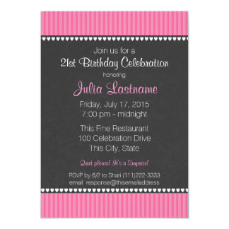 Rosa Streifen-und Kreide-Brett-Geburtstag 12,7 X 17,8 Cm Einladungskarte