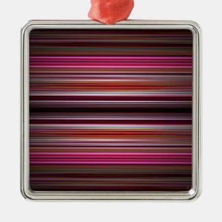 Rosa Streifenmuster Silbernes Ornament