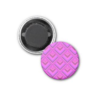 Rosa Streifenskalamuster Runder Magnet 3,2 Cm