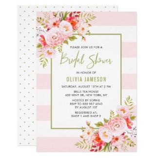 Rosa Stripes BlumenBrautparty-Einladung Karte