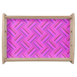 Rosa stripes diagonales Webartmuster Serviertablett