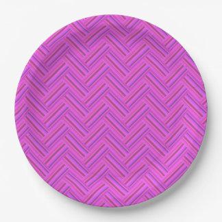Rosa stripes doppeltes Webartmuster Pappteller