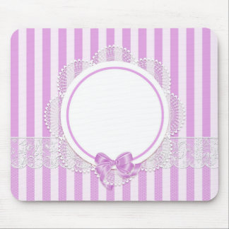 Rosa Stripes empfindliches Braut- oder Babyparty Mousepad