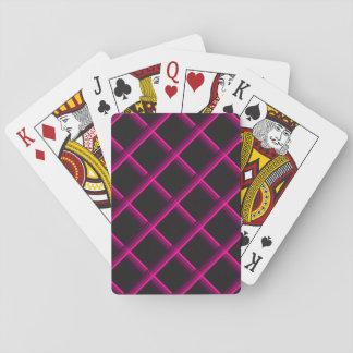Rosa Stripes Gewirr über einem schwarzen Spielkarten