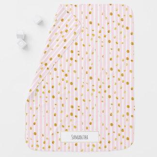 Rosa Stripes GoldTupfen-Monogramm-Baby-Decke Babydecke