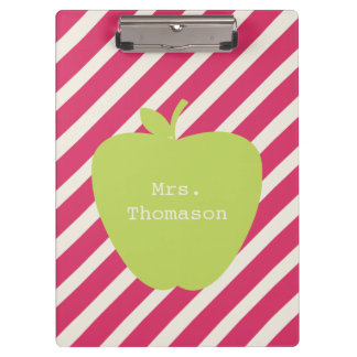 Rosa Stripes grünes Apple-Lehrer-Klemmbrett