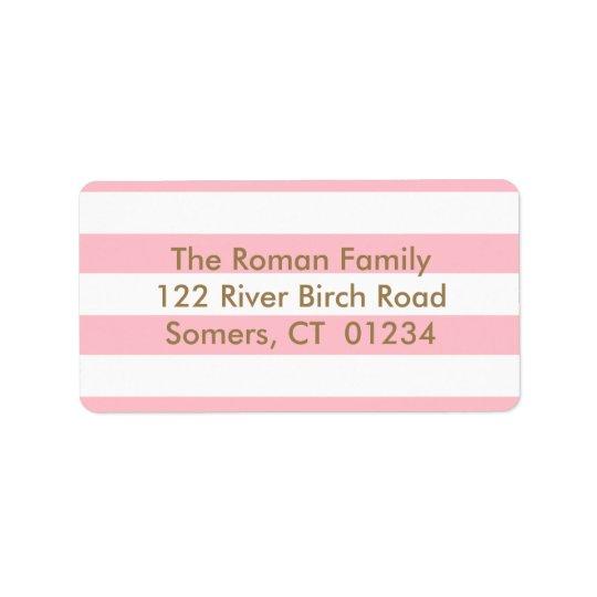 Rosa Stripes Rücksendeadresse, Goldbuchstaben Adressetikett