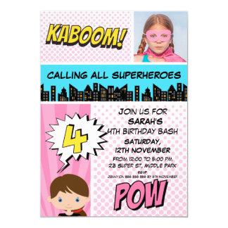 Rosa Superhero-Foto-4. Geburtstags-Party Einladung