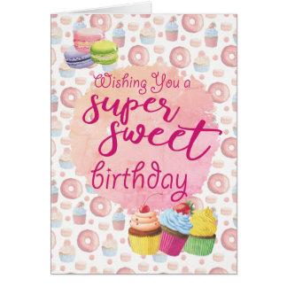 Rosa SuperSüßigkeitens-Kuchen-Geburtstag Karte