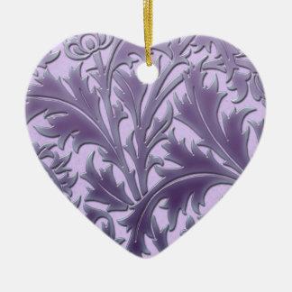 Rosa Süßigkeits-Distel Keramik Herz-Ornament