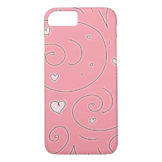 Rosa Swirlies und Herz-Girly Gekritzel-Kunst iPhone 8/7 Hülle