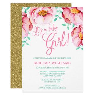 Rosa Tadellose BlumenAquarell Babyparty Einladung Karte