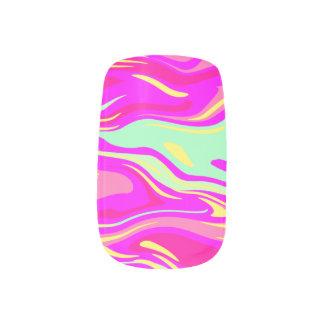 Rosa tadellose grüner und gelber Wirbels-abstrakte Minx Nagelkunst