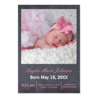 Rosa Tafel-Foto - Mitteilung der Geburts-3x5 8,9 X 12,7 Cm Einladungskarte