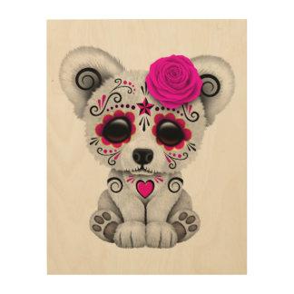 Rosa Tag des toten Baby-Eisbären Holzdruck