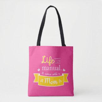 Rosa Tasche mit einem Zitat für Mamma
