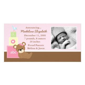 Rosa Teddy-Bärn-Foto-Geburts-Mitteilung Fotokartenvorlagen