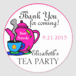 Rosa Tee Party-Danken Ihnen Runde Aufkleber
