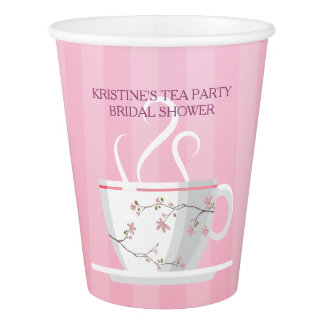 Rosa Tee-Party Pappbecher