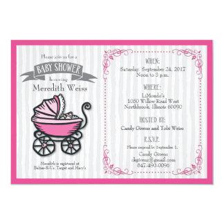 Rosa-Themenorientierte Babyparty-Einladung Karte