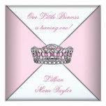 Rosa Tiara-kleine Prinzessin First Birthday Party Einladungskarte