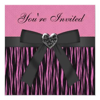 Rosa Tierdruck, schwarzer Bogen u. Herz-Juwel lädt Quadratische 13,3 Cm Einladungskarte