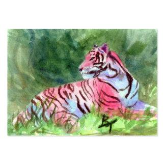 Rosa Tiger aceo Kunst-Karte Mini-Visitenkarten