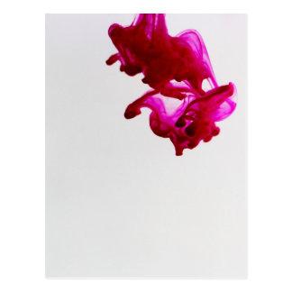 Rosa Tinten-Tropfen-Makrophotographie Postkarte