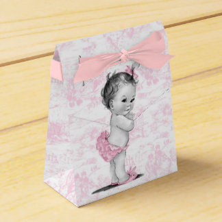 Rosa Toile Babyparty-Bevorzugungs-Kästen Geschenkschachtel