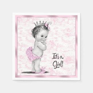 Rosa Toile Babyparty Papierservietten