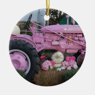 Rosa Traktor Keramik Ornament