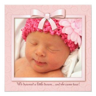 Rosa Traumbaby-Mädchen-Foto-Geburts-Mitteilung Quadratische 13,3 Cm Einladungskarte