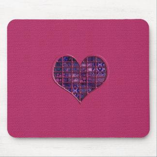 Rosa trendy girly Herz mit lila Material Mauspads