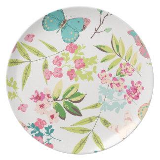 Rosa tropischer Schmetterlings-Girly Blumen-mit Flache Teller