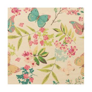 Rosa tropischer Schmetterlings-Girly Blumen-mit Holzleinwände